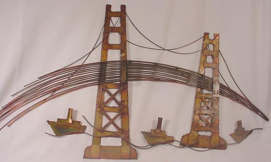 vintage metal art wall hanging golden gate bridge city galena illinois. Black Bedroom Furniture Sets. Home Design Ideas