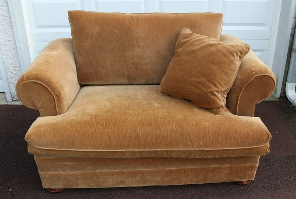 Large Overstuffed Loveseat Sleeper Hideaway Bed Twin In Tan Microfiber Ebay