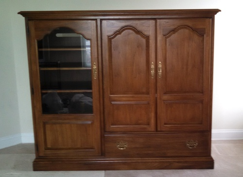 Large Solid Wood Home Entertainment Center Wall Unit