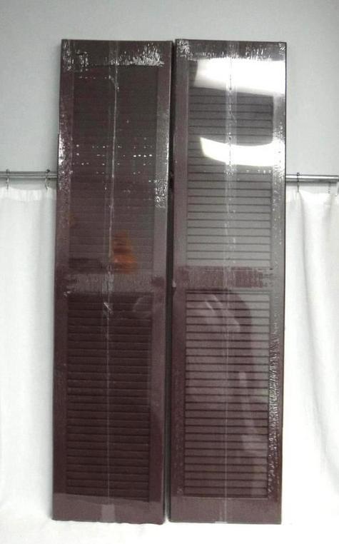 Severe Weather Pair Louvered Panel Vinyl Exterior Shutters Bordeaux 15x63 Ebay