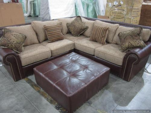 New beautiful studded 3pc leather fabric sectional sofa for Studded leather sofa