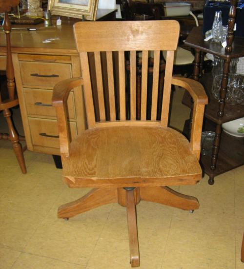 ANTIQUE OAK OFFICE DESK CHAIR SWIVEL WOOD EBay