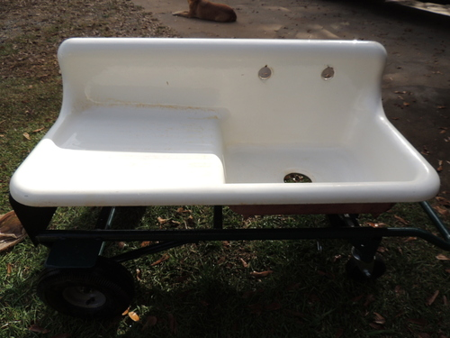 Farmhouse Kitchen Sink With Drainboard : ANTIQUE FARM FARMHOUSE DRAINBOARD PROCELAIN KITCHEN SINK CAST IRON ...