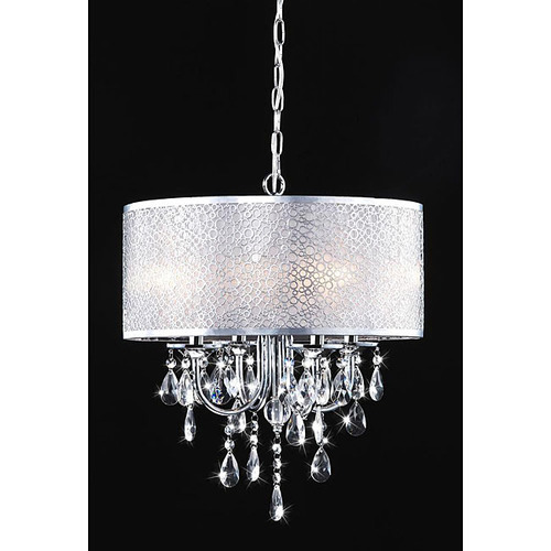 chandelier w white drum shade 4 lamp chrome crystal prisms bcp 017 cl4