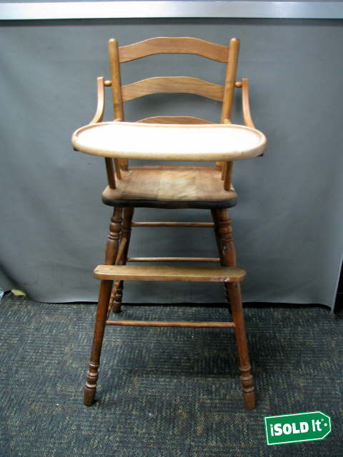 antique vintage 1940s solid cherrywood finish baby high chair w folding tray nr. Black Bedroom Furniture Sets. Home Design Ideas