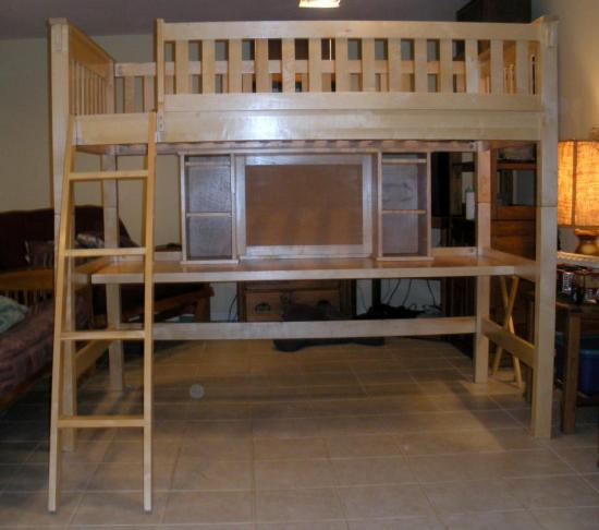 wooden childs college dorm twin size loft bunk bed w student desk hutch ebay. Black Bedroom Furniture Sets. Home Design Ideas