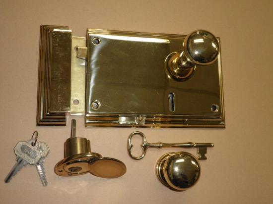 new baldwin polished brass exterior bevel rim lock ebay