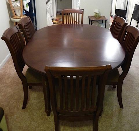 LANE ADJUSTABLE DINING ROOM CHERRY WOOD TABLE CHAIRS SET W LEAF SEATS