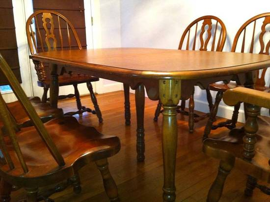 er buck colonial early american solid maple dining table w leaves 6 chairs ebay. Black Bedroom Furniture Sets. Home Design Ideas