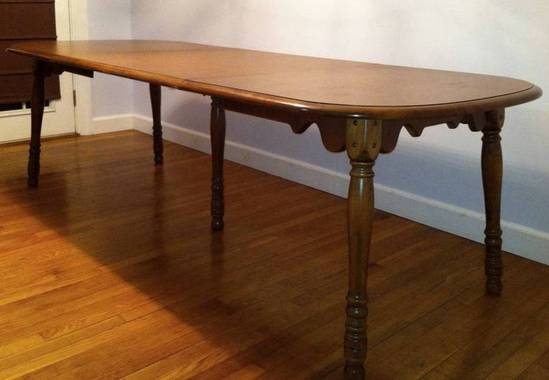 er buck colonial early american solid maple dining table w leaves 6 chairs. Black Bedroom Furniture Sets. Home Design Ideas