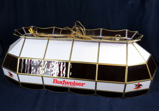 large 40 budweiser white and red stained glass pool hall. Black Bedroom Furniture Sets. Home Design Ideas