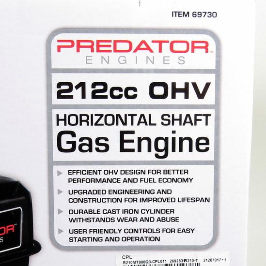 New in box predator 212cc ohv gas engine horizontal shaft for 69730