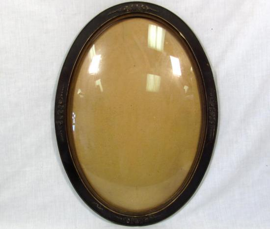 antique 22 x 16 quot oval domed glass picture frame