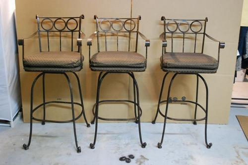 3 designer wrought iron swivel bar stools chairs for High end bar stools swivel