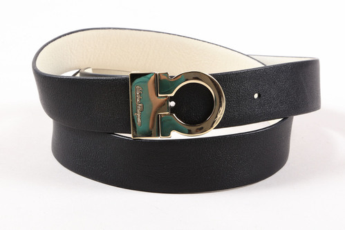 Salvatore Ferragamo Black White Gold Tone Leather Horsebit ...