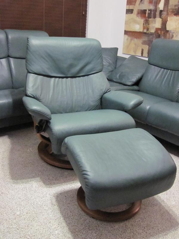 ekornes stressless recliner chair leather modern large spirit paloma sea green ebay. Black Bedroom Furniture Sets. Home Design Ideas