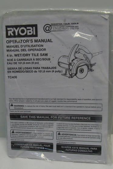 ryobi ws722 tile saw manual