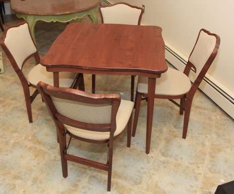 stakmore bridge table 4 chairs folding table chairs card table p u nj ebay. Black Bedroom Furniture Sets. Home Design Ideas