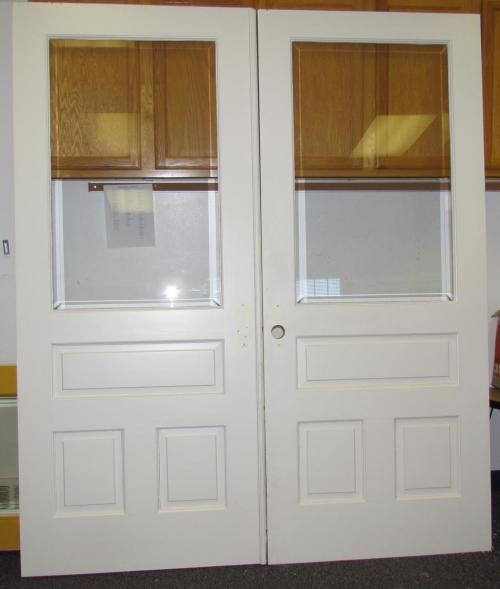Solid wood french doors with beveled glass interior or for Solid french doors exterior