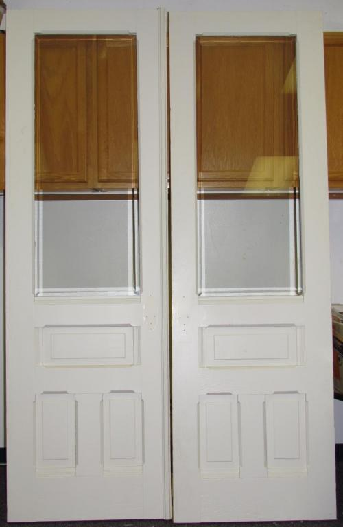Antique double solid hard wood interior french doors w beveled glass for Interior double glass french doors