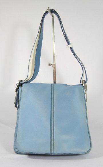 COACH LIGHT BLUE MICROFIBER SHOULDER BAG HANDBAG