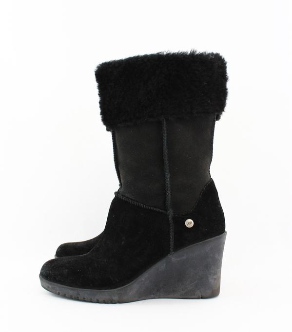 ugg black wedge heel shearling interior zip mid calf boot