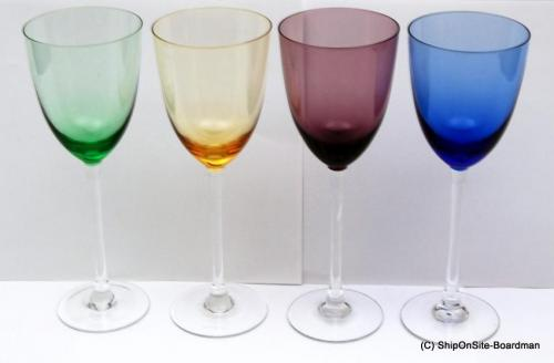 4 lenox crystal gems colored wine glasses mint ebay - Lenox colored wine glasses ...