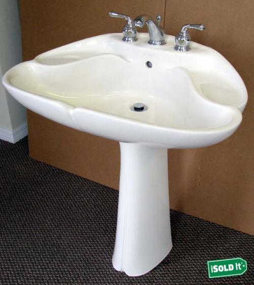 jacob delafon pedestal sink 2178ba clamshell off white ebay. Black Bedroom Furniture Sets. Home Design Ideas