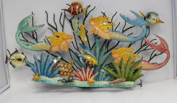 Sea Mermaid & Fish 3D Wall Art Painted Metal Sculpture ...