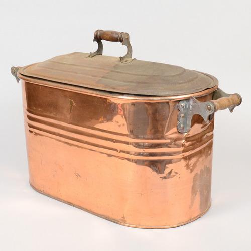 Antique Copper Boiler Pot Large Oval Steamer Tub Wood