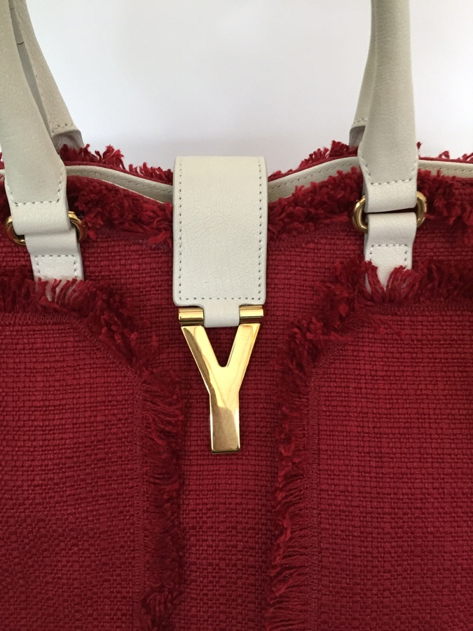 ysl chyc flap bag - Yves Saint Laurent Cabas Chyc Red Tweed and Off White Leather ...