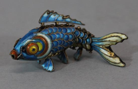 Large 3inch antique chinese silver cloisonne articulated for Chinese koi fish for sale