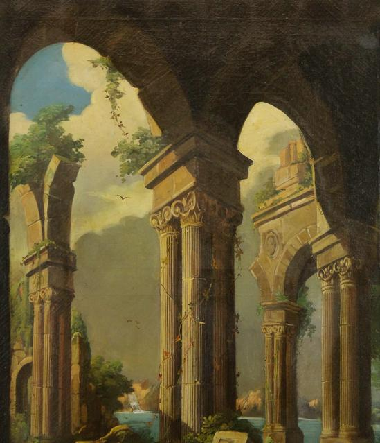 19thC Classical Ancient Roman Architectural Columns Oil Painting