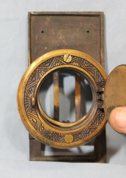 Antique prohibition barroom speakeasy speak a view peephole door knocker ebay - Door knocker with peep hole ...