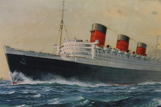 Queen Mary Ocean Liner History http://www.ebay.com/itm/Authentic-Vintage-Queen-Mary-Ocean-Liner-Advertising-Travel-Poster-Sign-NR-/130778228147