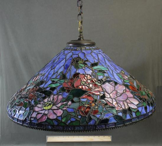 signed somers tiffany hanging stained glass ceiling. Black Bedroom Furniture Sets. Home Design Ideas
