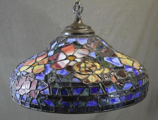 vintage somers tiffany stained glass hanging lamp shade. Black Bedroom Furniture Sets. Home Design Ideas