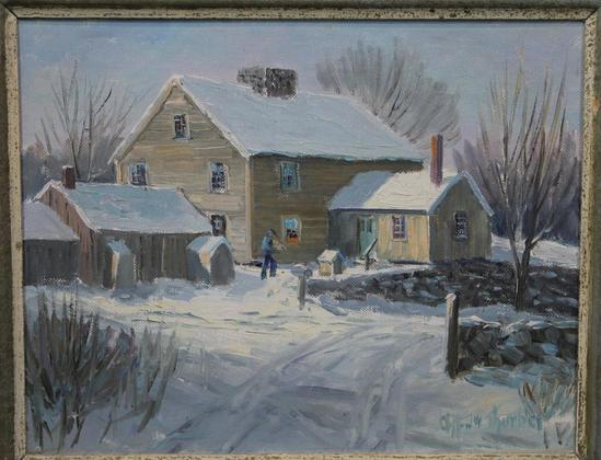 Vintage clifford thurber old lyme ct winter snow new for House painting connecticut