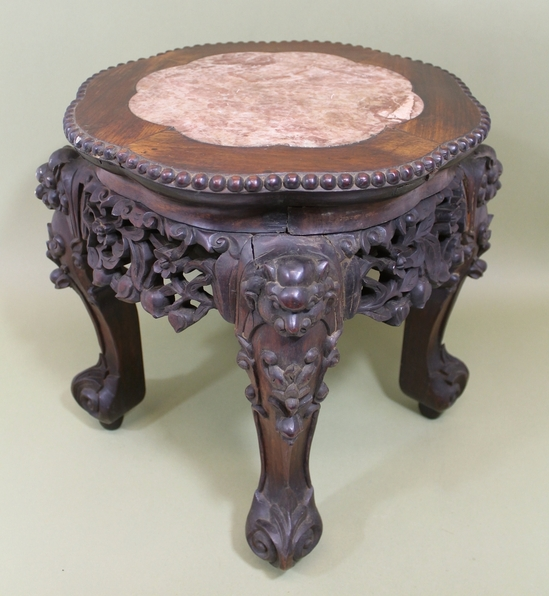 Wooden Head Table ~ Small antique chinese hand carved hardwood wood marble