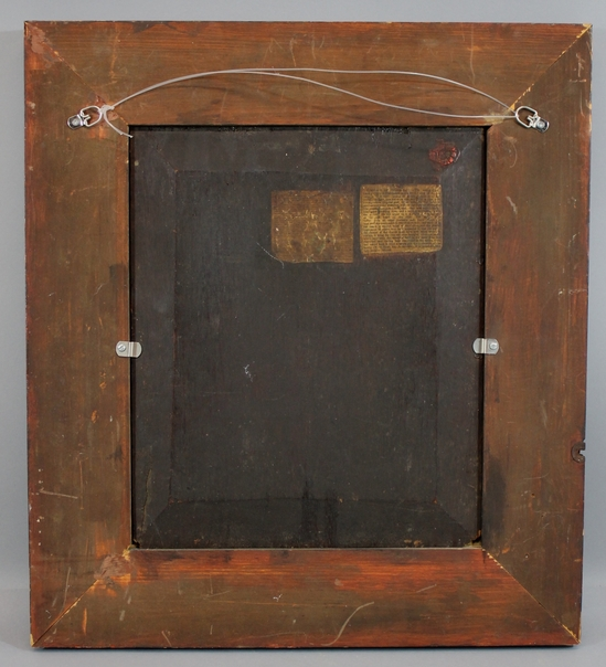 antique raised wood panel oil painting shakespeare painted wood frame nr ebay. Black Bedroom Furniture Sets. Home Design Ideas
