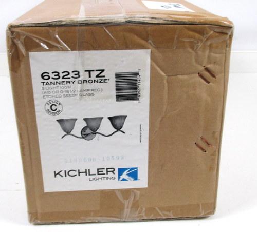 NIB KICHLER 6323 TZ 3-LIGHT TANNERY BRONZE BATHROOM VANITY LIGHT ...