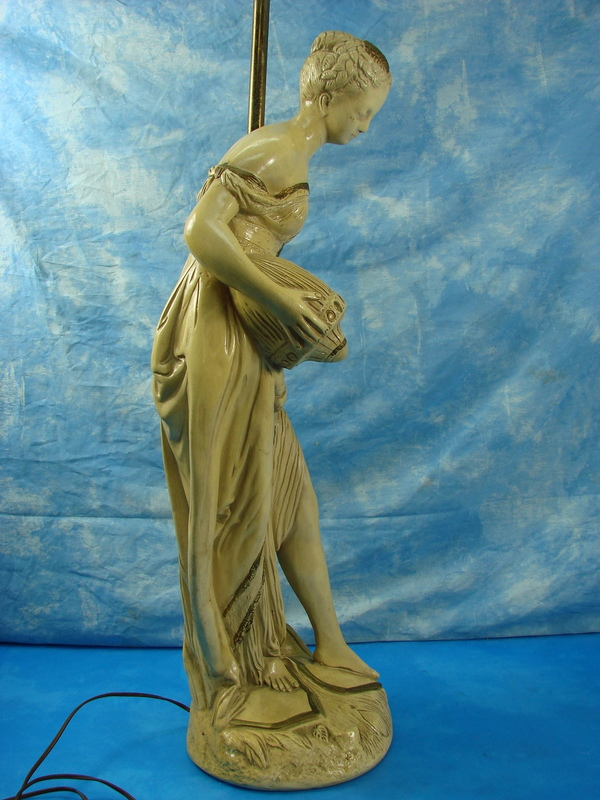 Large Ceramic Table Floor Lamp Aquarius Water Bearer Greek Roman Statue Light Ebay