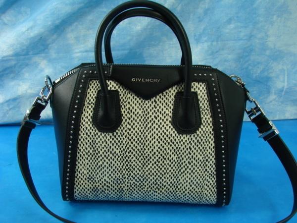 e653d271c2 Givenchy Antigona Small Studded Leather   Spotted Snakeskin Satchel Handbag