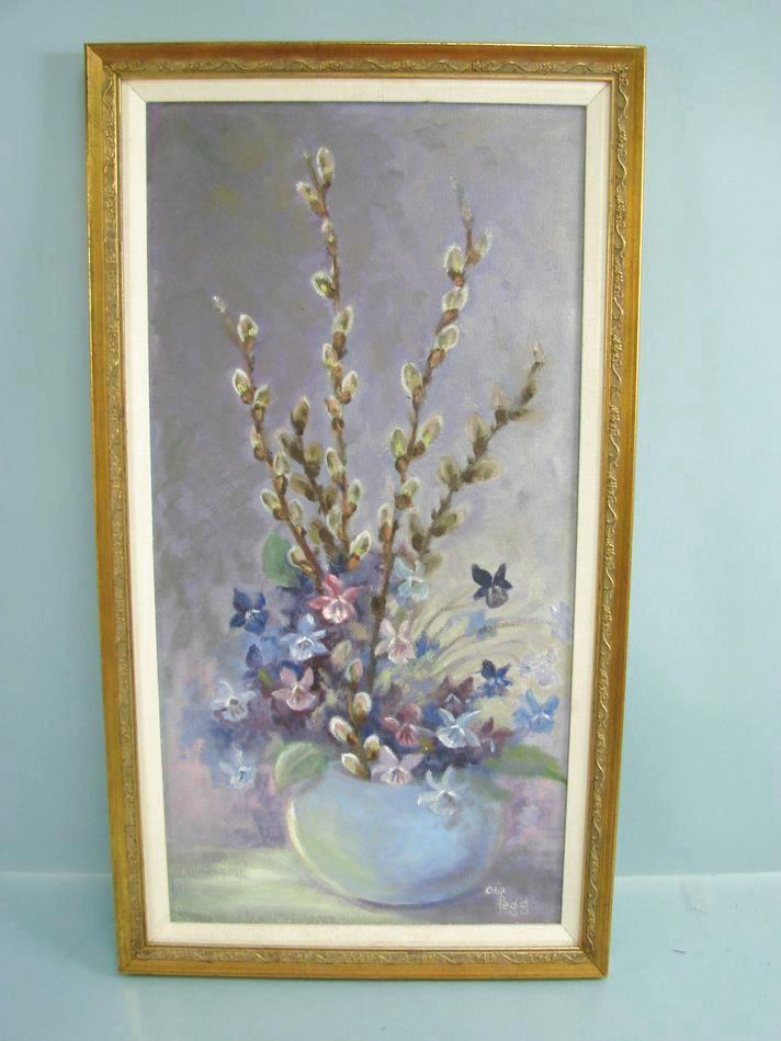 Pintura al óleo enmarcado por OLIF Pegg Bodegón floral púrpura ...