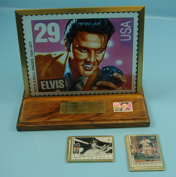 Details About Elvis Presley Stained Stamp Glass Tableau 2 Mickey Mantle Baseball Cards