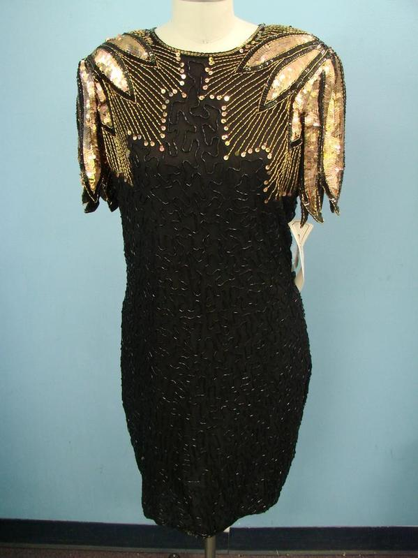 8376615feb Vtg Stenay Black and Rose Gold Sequined Beaded Cocktail Dress Great ...