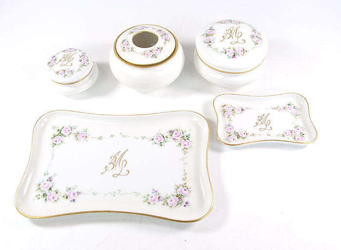 Details about Haviland Limoges Favorite Bavaria MZ Austria China Dresser  Set Jar Tray Hair