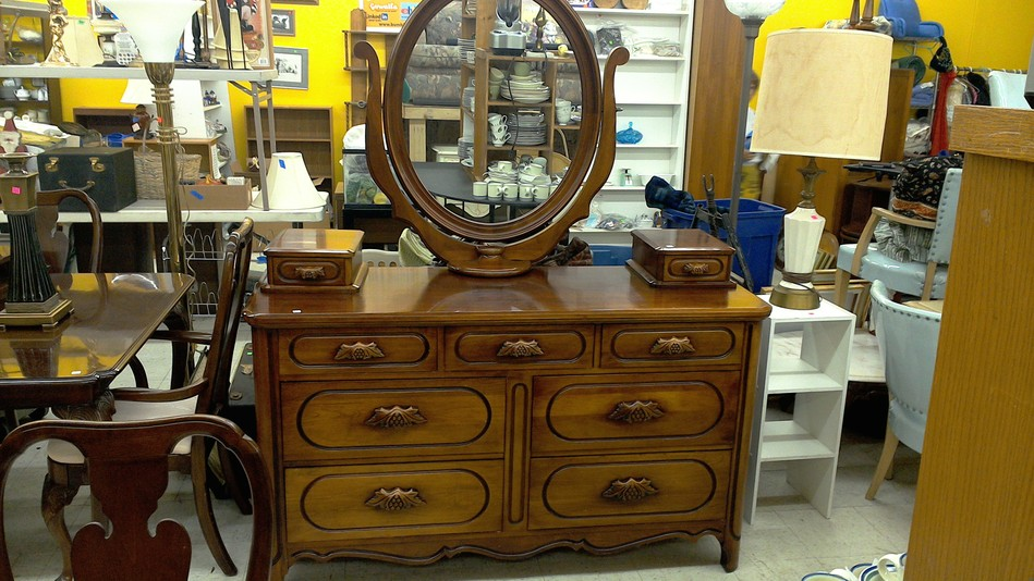 Wood handkerchief  dresser with attached vanity mirror