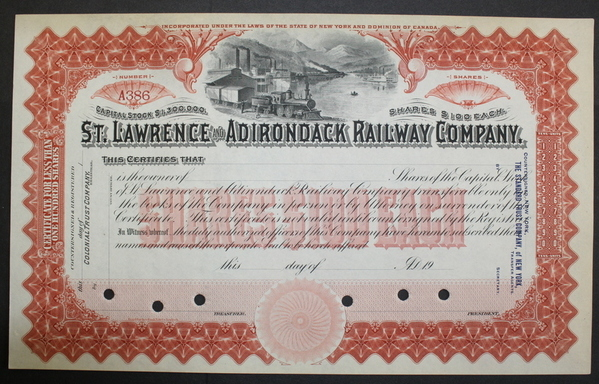St. Lawrence and Railway Company Stock Certificate