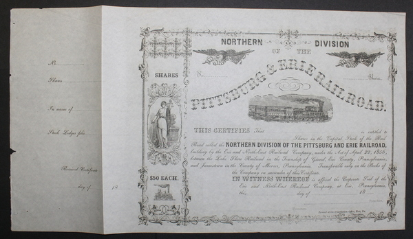 Pittsburg & Erie Railroad (Northern Division) 1856 Stock Certificate